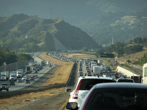 Traffic, just north of Los Angeles, in the Newhall Pass