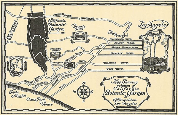 Map (not to scale) showing the location of the California Botanic Garden. From the 1927 pamphlet 'Objects and Purposes of the California Botanic Garden.' Courtesy of the USC Libraries.