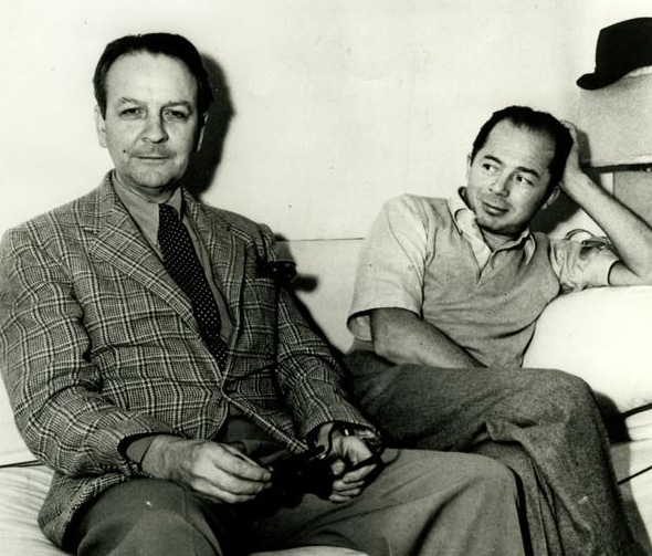 Author and screenwriter Raymond Chandler with film director Billy Wilder on the set of 1944's Double Indemnity. Courtesy of the Raymond Chandler Papers, Department of Special Collections, Charles E. Young Research Library, UCLA