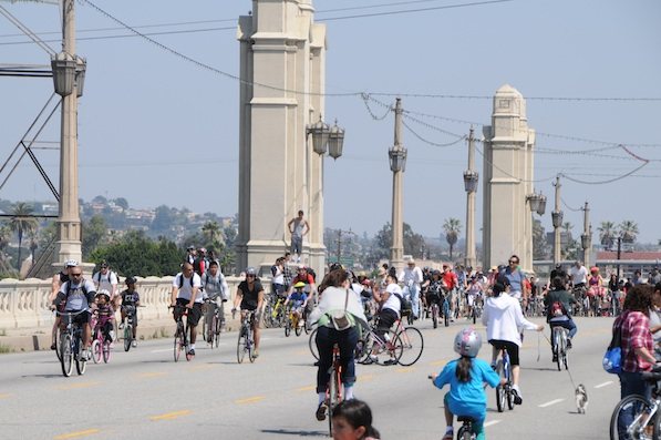 A crowded 4th Street bridge during CicLAvia on Sunday, April 10th, 2011 | Photo by Zach Behrens/KCET