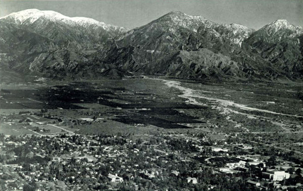 Mount San Antonio (Baldy), Ontario Peak, and Cucamonga Peak rise from the valley floor along the Cucamonga Fault. Courtesy of the City of Claremont History Collection, Honnold Mudd Library Special Collection, Claremont Colleges.