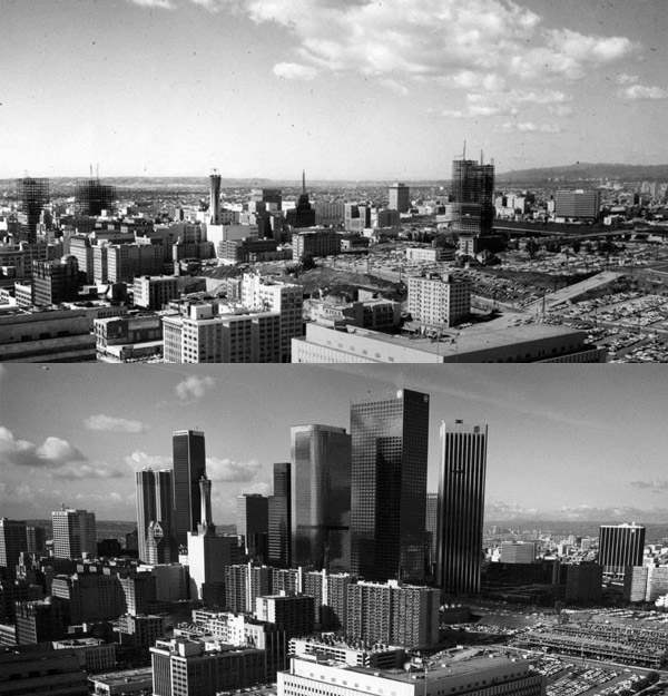 Downtown L.A.'s modern skyline took shape between the mid-1960s (top) and the late 1980s (bottom). Both photos courtesy of the Security Pacific National Bank Collection, Los Angeles Public Library.