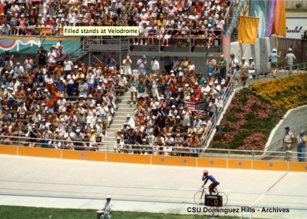 Crowds packed the Olympic velodrome stands to watch the cycling competitions. Courtesy of the California State University Dominguez Hills Photograph Collection, CSUDH Archives.