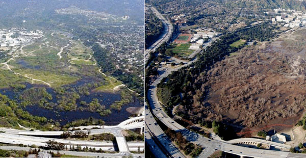 Devils Gate Dam and Reservoir before (left) and after (right) the 2009 Station Fire | Photo via LA County Department of Public Works