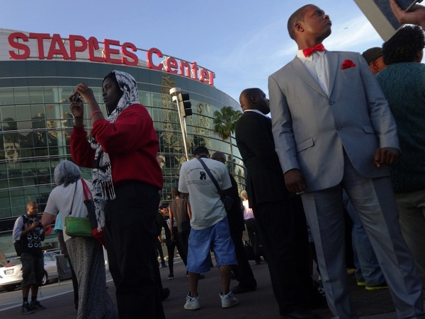 At a Donald Sterling protest next to Staples Center, home of Sterling's L.A. Clippers.