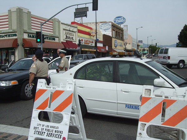 A street closure for a street fair in Highland Park