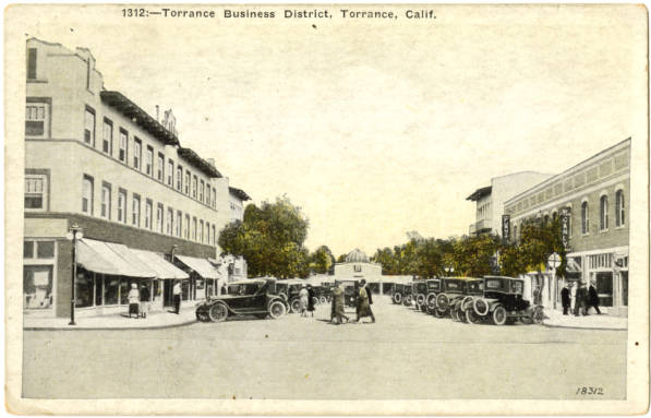 Circa 1920s postcard of Torrance's downtown business district. Courtesy of the South Bay History Collection, Cal State Dominguez Hills Archives.