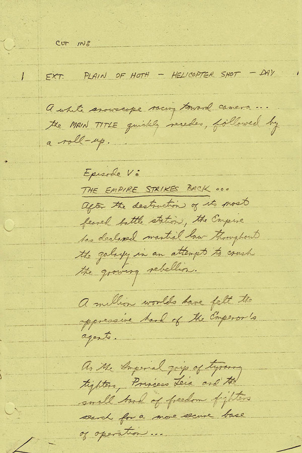 Opening scroll of Kasdan's handwritten draft of 'The Empire Strikes Back.' Courtesy of the Writers Guild Foundation Archive.