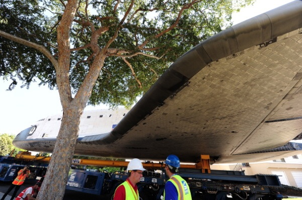 The Space Shuttle Endeavour's path is temporarily blocked by a tree as the shuttle is transported through the streets on its final journey to its permanent museum home on October 13, 2012 in Inglewood. | Photo: ROBYN BECK/AFP/GettyImages)<br />