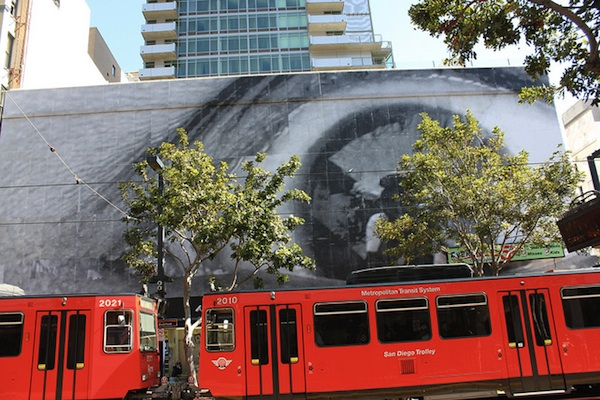 A San Diego trolley passes outside the Museum of Contemporary Art
