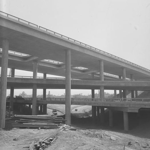 The nearly completed Four Level Interchange in 1949. Courtesy of the Los Angeles Times Photographic Archive. Department of Special Collections, Charles E. Young Research Library, UCLA.