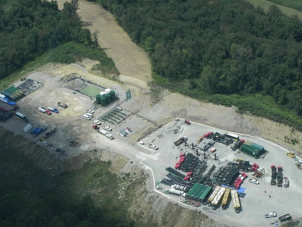 An apparent fracking operation in Washington County, Pennsylvania