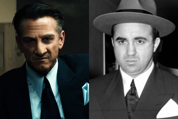 Left: Sean Penn as Mickey Cohen in 'Gangster Squad.' Courtesy of Warner Bros. Pictures. Right: Mickey Cohen after being convicted of income tax evasion in 1951. Courtesy of the Los Angeles Examiner Collection, USC Libraries.