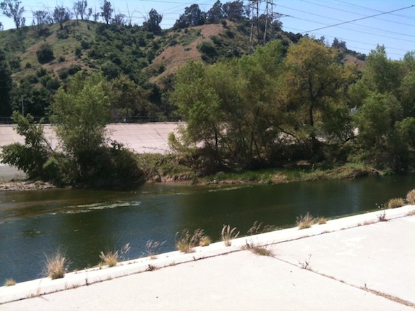 The L.A. River, and Griffith Park in the background, as seen from near Betty Davis Park | Photo by Zach Behrens/KCET