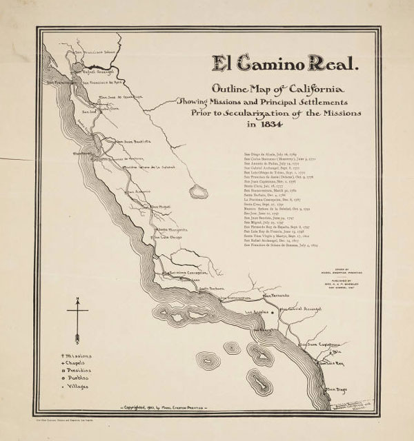 Circa 1903 map of El Camino Real. Courtesy of the Young Research Library Special Collections, UCLA.