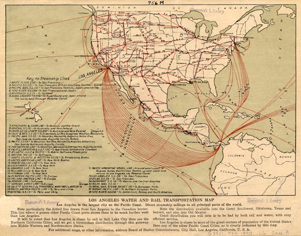 The 1914 opening of the Panama Canal boosted traffic at the ports of Los Angeles and Long Beach, which are more than 400 miles closer to the canal than San Francisco. Circa 1890s map courtesy of the Bancroft Library, UC Berkeley.
