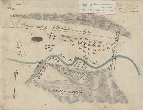 Drawing of Rancho Providencia, which later became Burbank, circa 1840.  Courtesy of the Landcase Maps Collection, The Bancroft Library, University of California, Berkeley