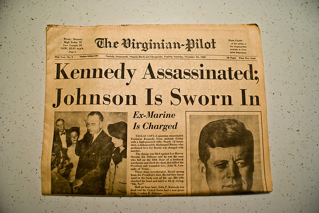 The Virginian-Pilot, November 23, 1963 issue announcing the assassination of John F. Kennedy.