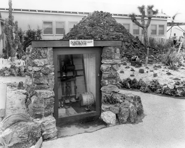 One of the first attractions at Knott's Berry Farm was an artificial volcano. Courtesy of the Orange County Archives.