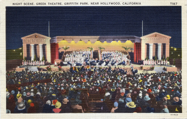 Circa 1930 postcard of the Greek Theater. Courtesy of the Werner Von Boltenstern Postcard Collection, Department of Archives and Special Collections, Loyola Marymount University Library.