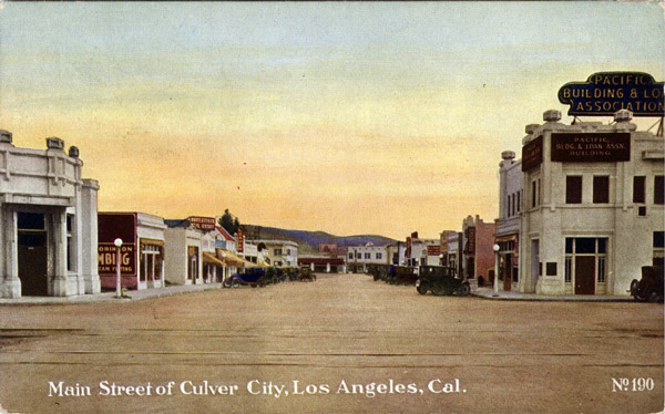 Culver City's Main Street, circa 1920. Courtesy of the Werner Von Boltenstern Postcard Collection, Department of Archives and Special Collections, Loyola Marymount University Library.