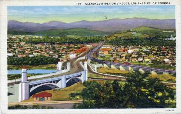 1931 postcard of the Glendale-Hyperion Bridge. Courtesy of the Werner Von Boltenstern Postcard Collection, Department of Archives and Special Collections, William H. Hannon Library, Loyola Marymount University.