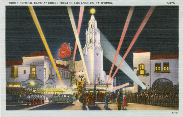 Circa 1940 postcard of the Carthay Circle Theater. Courtesy of the Werner von Boltenstern Postcard Collection, Department of Archives and Special Collections, Loyola Marymount University Library.