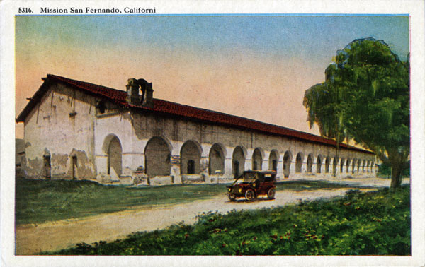 Circa 1925 postcard of Mission San Fernando. Courtesy of the Werner Von Boltenstern Postcard Collection, Department of Archives and Special Collections, Loyola Marymount University Library.