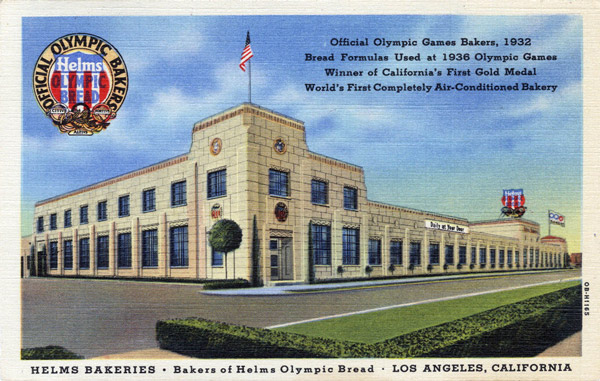 1940 postcard showing the Helms Bakery in Culver City. Courtesy of the Werner Von Boltenstern Postcard Collection, Department of Archives and Special Collections, Loyola Marymount University Library.