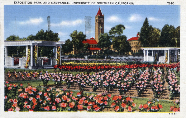 Circa 1942 postcard depicting the Exposition Park rose garden. Courtesy of the Werner Von Boltenstern Postcard Collection, Department of Archives and Special Collections, Loyola Marymount University Library.