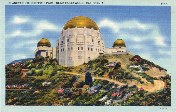 Circa 1935 postcard of the Griffith Observatory. Courtesy of the Werner Von Boltenstern Postcard Collection, Department of Archives and Special Collections, Loyola Marymount University Library.