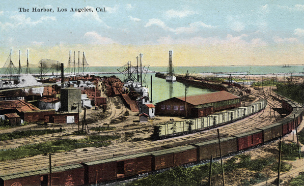 Early 20th-century postcard of the Los Angeles Harbor. Courtesy of the Werner Von Boltenstern Postcard Collection, Department of Archives and Special Collections, Loyola Marymount University Library.