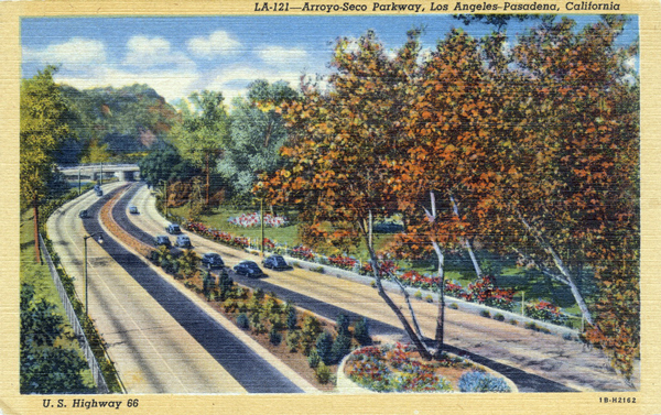1940 postcard of the Arroyo Seco Parkway. Courtesy of the Werner Von Boltenstern Postcard Collection, Department of Archives and Special Collections, Loyola Marymount University Library.