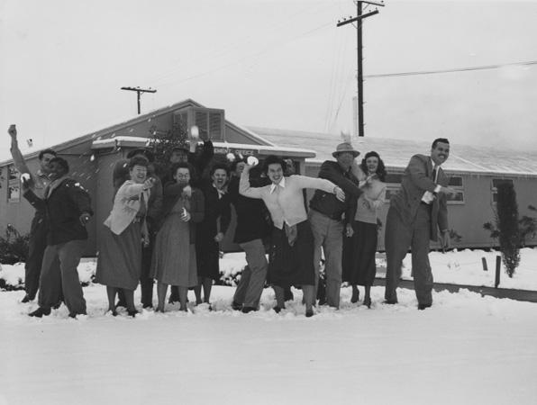 Southern Californians enjoying a rare snowfall in Pacoima. Courtesy Southern California Library