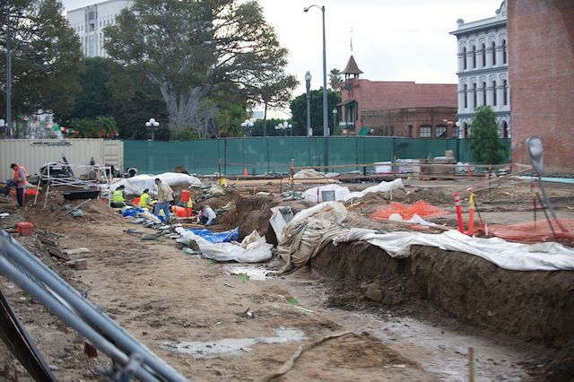 Excavation work at LA Plaza De Cultura y Artes in downtown Los Angeles | Photo by The City Project