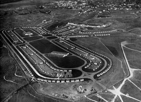 Aerial view of the 1932 Olympic Village in the Baldwin Hills. Courtesy of the LA84 Foundation.