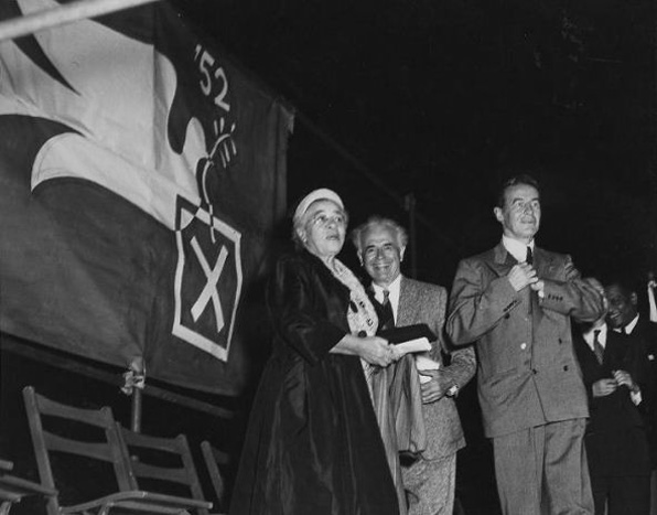 Bass (on left) campaigning in 1952 with Hallinan (right) and the Progressive Party's candidate for U.S. Senator from California, Reuben Borough. Courtesy Southern California Library for Social Studies and Research