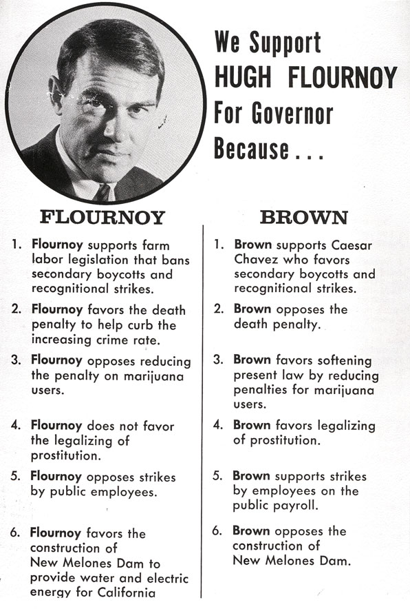 Houston Flournoy campaign flyer. Courtesy USC Libraries Special Collections.