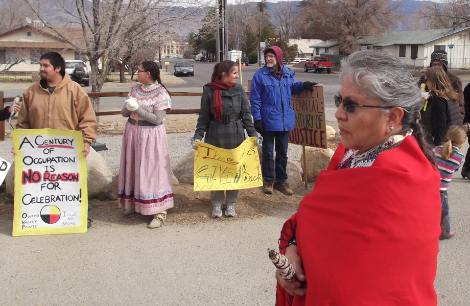 The group of protestors who attended the ceremony at the Eastern California Museum in Independence were primarily from a local Paiute tribe, said Klusmire. | Photo: Jon Klusmire/Eastern California Museum/County of Inyo