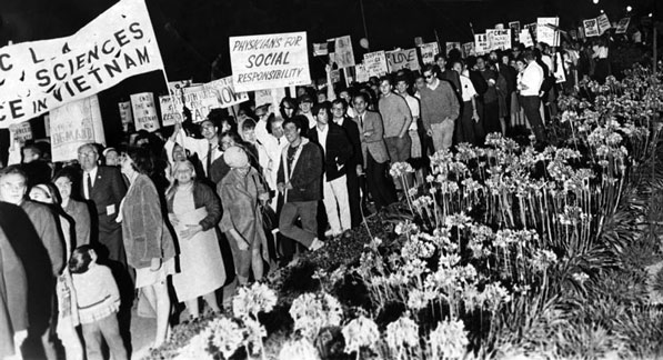 Anti-war protesters marching through Century City in 1967 as President Johnson hosts a political fundraiser inside the Century Plaza Hotel. Courtesy of the Herald-Examiner Collection, Los Angeles Public Library.