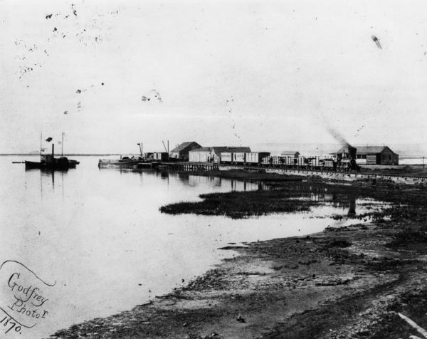 Phineas Banning's wharf at Wilmington, the southern end of the line for the Los Angeles & San Pedro. Courtesy of the Photo Collection, Los Angeles Public Library.