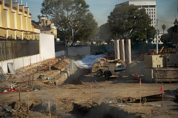 The excavation site at LA Plaza de Cultura y Artes in Downtown L.A. sits empty on Friday after work was halted | Photo by Seth Strongin/The City Project, used under a Creative Commons License
