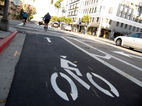A bicycle lane in Long Beach