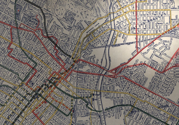 1906 map showing Lincoln Heights labeled as East Los Angeles. Map by B.W. Pierce. Courtesy of the Big Map Blog.