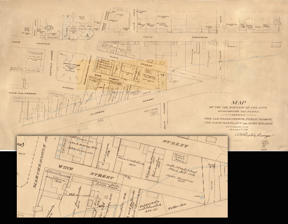 Wine Street in Plaza in 1873 map by Los Angeles surveyor A.G. Ruxton.