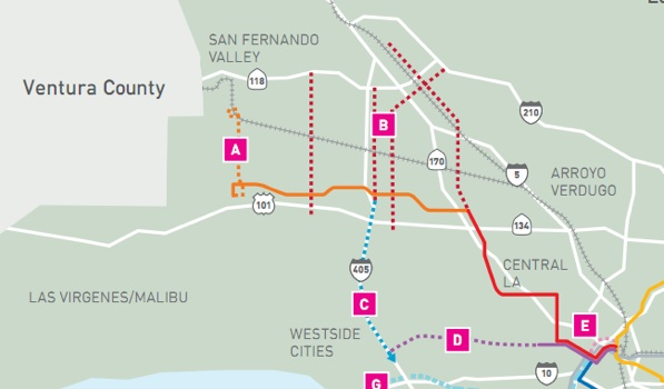 Metro's 30/10 initiative map, detailing future projects: the Sepulveda Pass (dashed blue), north-south valley corridors (dashed red), the Westside Subway (dashed purple).
