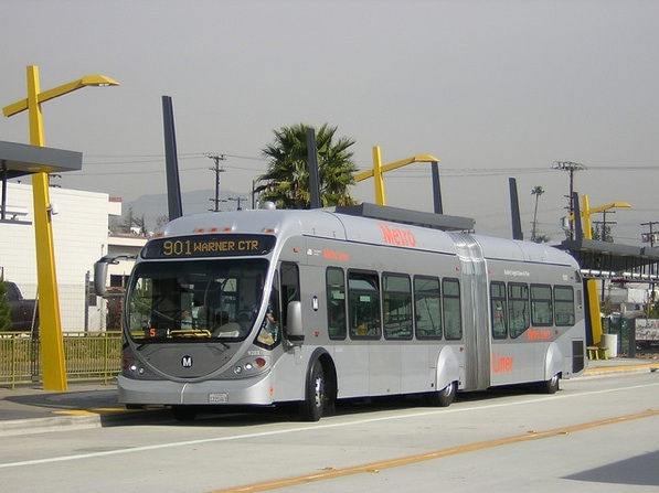 The Metro Orange Line in the San Fernando Valley connects to the Red Line subway