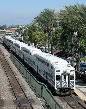 A Metrolink train departs Fullerton in Orange County