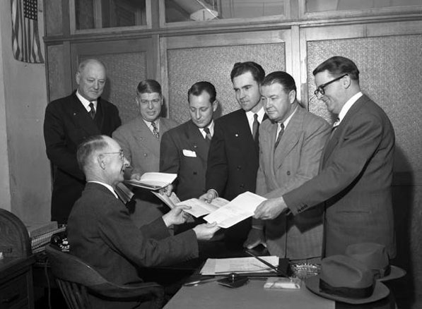 Nixon (third from right) files to run for the U.S. House of Representatives in 1949. Courtesy of the Los Angeles Times Photographic Archive, Department of Special Collections, Charles E. Young Research Library, UCLA.