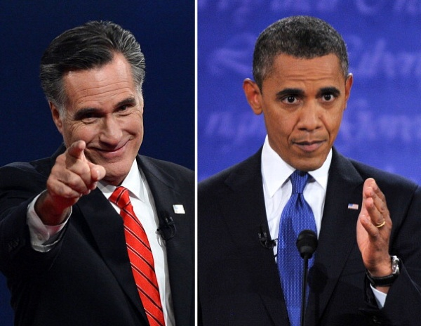 U.S. President Barack Obama (R) speaks during his debate with Republican Presidential candidate Mitt Romney (L). | Photo: STF/AFP/GettyImages
